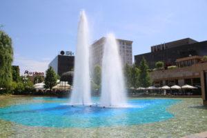 Una delle fontane che ornano il Parco del Palazzo della Cultura