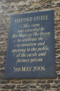 Castello di Oxford - Targa Commemorativa