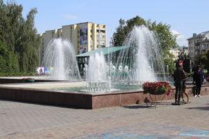 Fontana nel parco a Mogilev