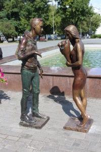 Scultura nel parco a Mogilev