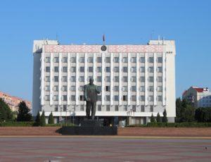 Statua di Lenin e Municipio di Bobrujsk