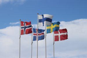Bandiere delle nazioni della Scandinavia