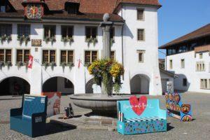 Fontana al centro di Rathausplatz