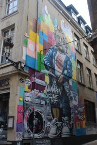 Dipinto murale del Manneken Pis