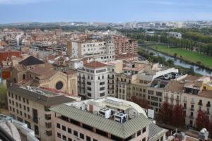 Vista di Lleida dal sito dell'ascensore