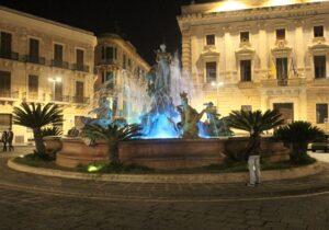Fontana di Diana di sera